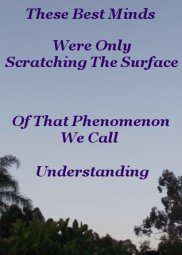 These best minds were only scratching the surface of that phenomenon we call understanding
