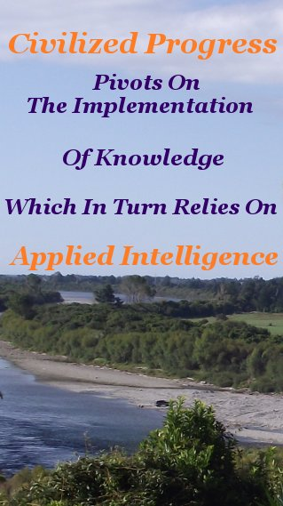 Civilized Progress pivots on the implementation of knowledge which in turn relies on applied intelligence