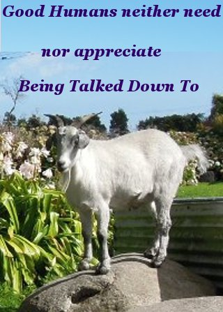 Good Humans neither need nor appreciate being talked down to