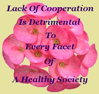 Lack of cooperation is detrimental to every facet of a healthy society