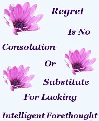 Regret is no consolation, or substitute, for lacking intelligent forethought