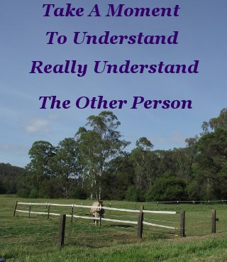 Take a moment to understand, really understand, the other person