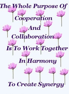 The whole purpose of collaboration is to work together in harmony, to create synergy
