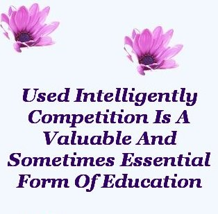Used intelligently, competition is a valuable and sometimes essential form of education