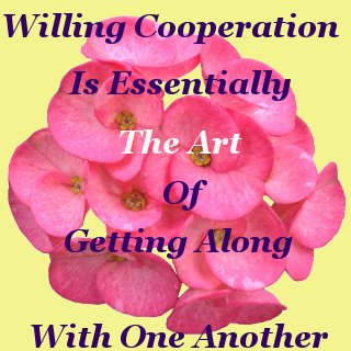 Willing cooperation is essentially the art of getting along with one another