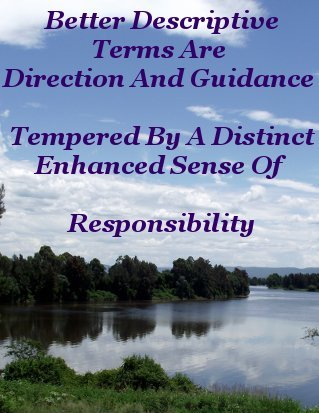 Better descriptive terms are direction and guidance, tempered by a distinct, enhanced sense of responsibility