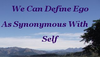 We can define ego as synonymous with self