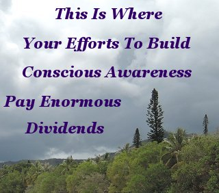 This is where your efforts to build conscious awareness pay enormous dividends