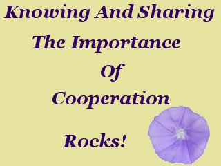 Knowing and sharing the importance of cooperation rocks!